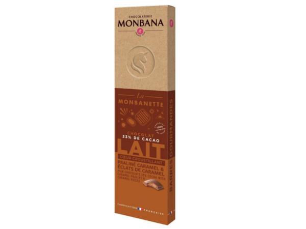 Barre Chocolat au Lait Praliné et Caramel  MONBANA 40 g