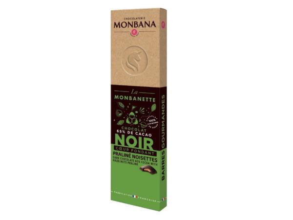 Barre Chocolat Noir Praliné Noisettes  MONBANA 40 g