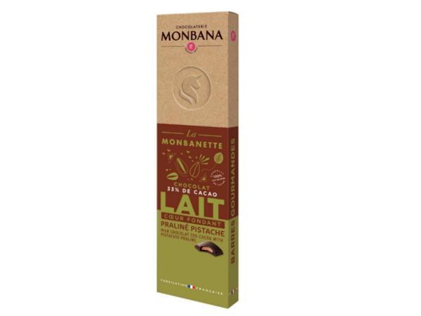 Barre Chocolat au Lait Praliné Pistache MONBANA 40 g
