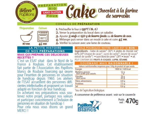 Kits de Cake Bio sans Glutten  Chocolat Farine de Sarrazin 470g - visuel 2