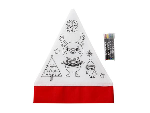 Bonnet de Noël à Colorier avec 4 Crayons Gras - visuel 2