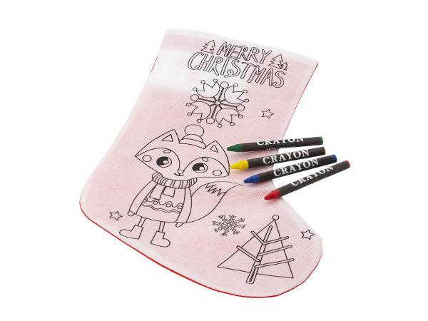 Chaussette de Noël à Colorier avec 4 Crayons Gras