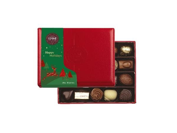 Boîte Cuir Rouge Noël Garnie 20 Chocolats Sans Alcool - 285 g