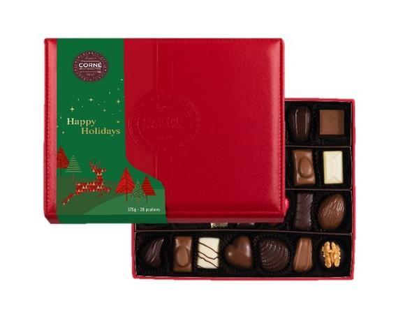 Boîte Cuir Rouge Noël Garnie 28 Chocolats Sans Alcool - 375 g