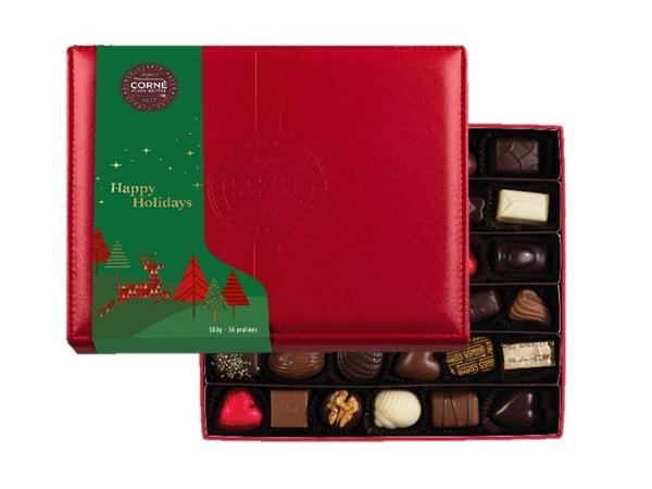 Boîte Cuir Rouge Noël Garnie 36 Chocolats Sans Alcool - 500 g