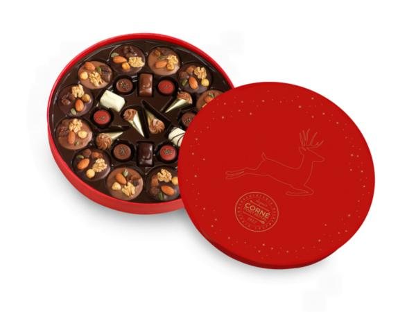 Grande Boîte Ronde Noël Garnie de 26 chocolats - 375 g