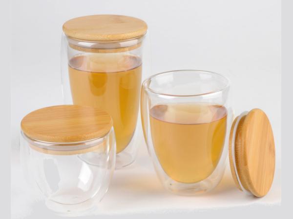 Verre à Double Paroi, Couvercle en Bambou 250 ml