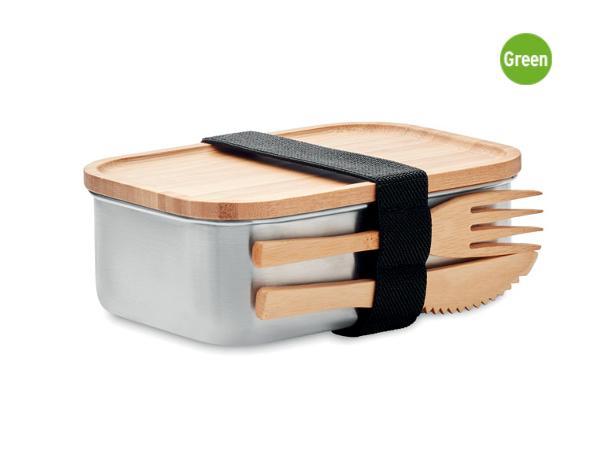 Lunchbox 600 ml en acier Inoxydable et Bambou avec 2 Couverts