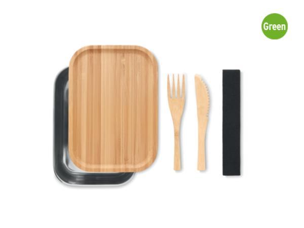 Lunchbox 600 ml en acier Inoxydable et Bambou avec 2 Couverts - visuel 2