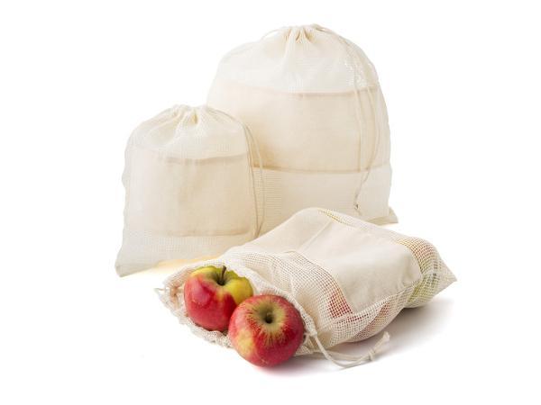 Set de 3 Sacs Filets en Coton pour Fruits et Légumes