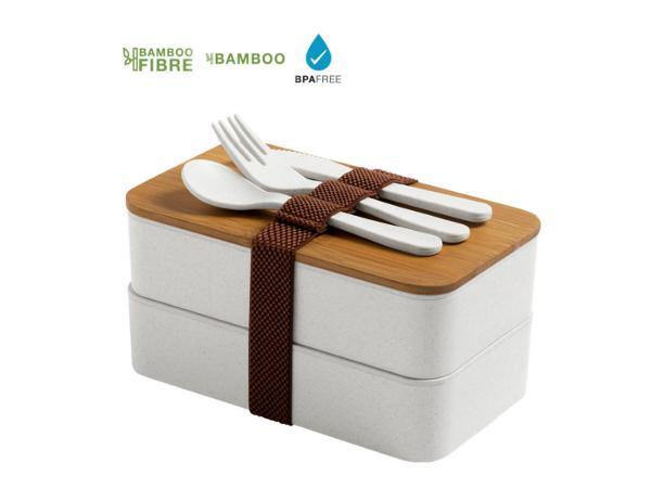 Lunch Box avec 2 Compartiments de 700 ml Chacun en Bambou
