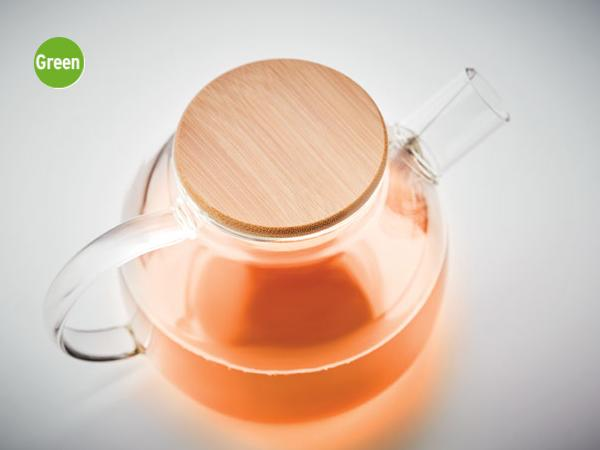 Theière en Verre de 850 ml avec Couvercle Bambou