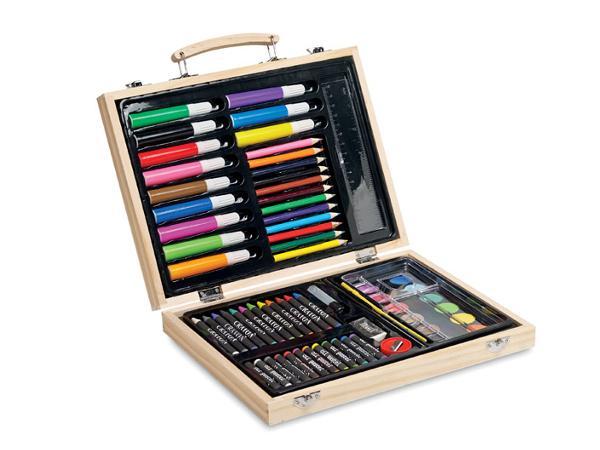 Malette d'Artiste en Bois avec Peintures, Feutres et Crayons