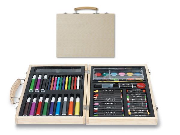 Malette d'Artiste en Bois avec Peintures, Feutres et Crayons - visuel 2