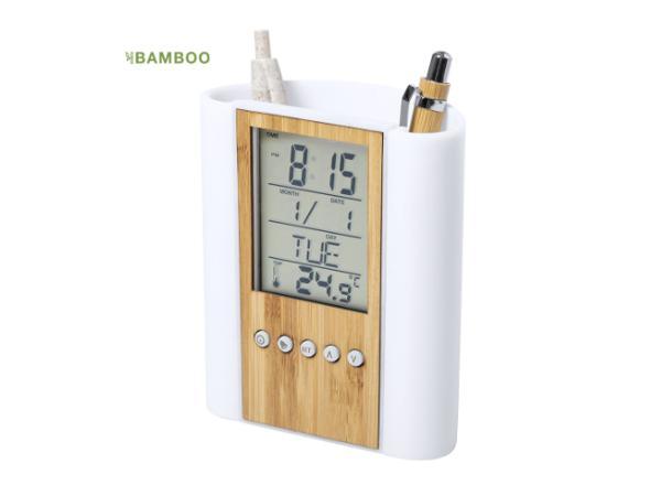 Pot à Crayons avec Station Météo et Horloge en Bambou