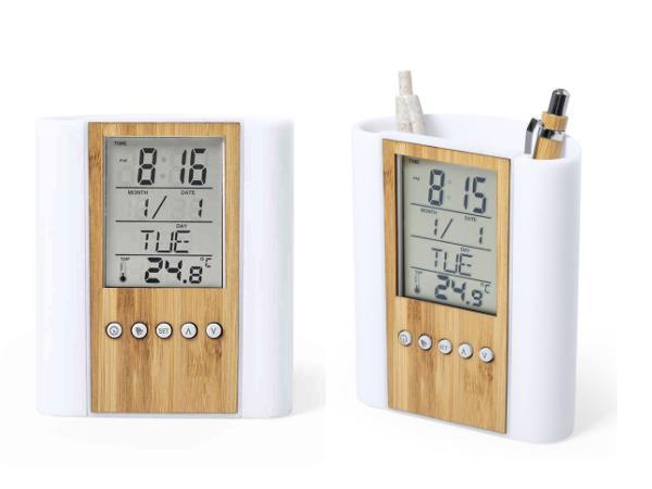 Pot à Crayons avec Station Météo et Horloge en Bambou - visuel 2