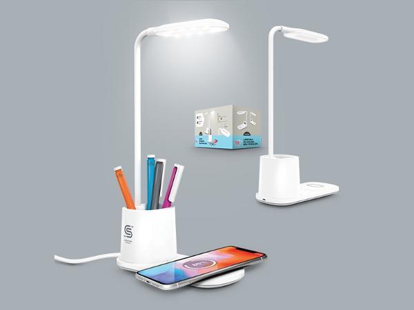 Lampe de Bureau avec Pot à Crayons et Chargeur Induction 10 W