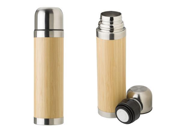 Bouteille Isotherme Double Paroi en Bambou de 400 ml