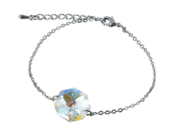 Bracelet Décoré d'un Cristal Autrichien Octogonal dans un Pochon