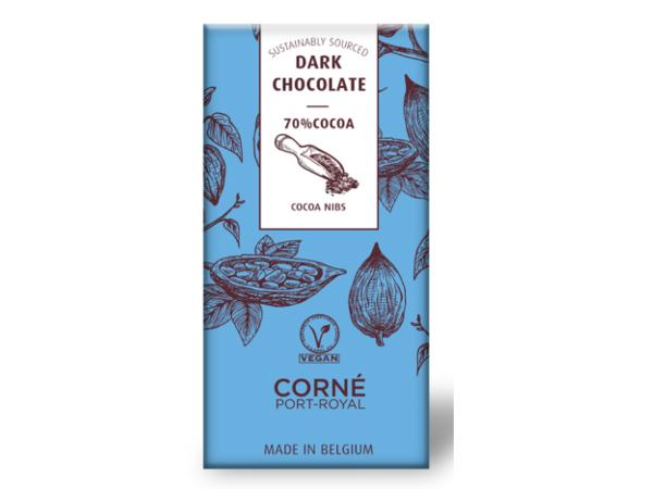 Tablette de 70 g Chocolat Noir avec des Morceaux de Fève