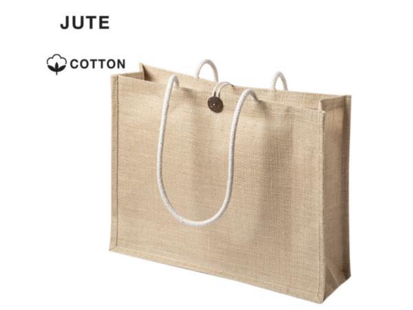 Sac Shopping en Jute, Fermeture Bouton et Anses Longues