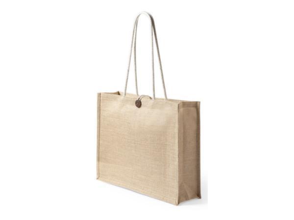 Sac Shopping en Jute, Fermeture Bouton et Anses Longues - visuel 2