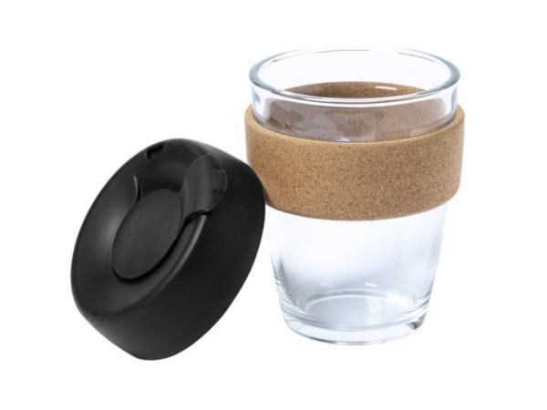 Mug en Verre de 350 ml avec Couvercle et Bande Extérieure en Liè - visuel 2