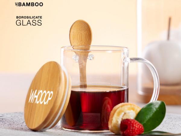 Mug de 420 ml avec Couvercle et Cuillère en Bambou