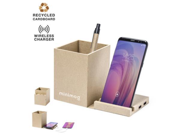 Pot à Crayons avec Support et Chargeur pour Smartphone en Carton - visuel 1