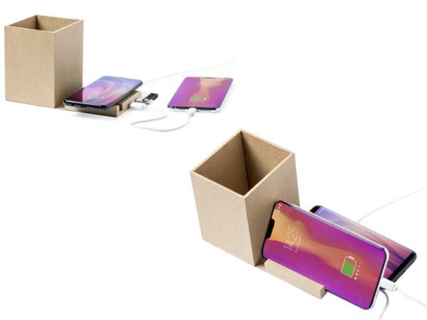 Pot à Crayons avec Support et Chargeur pour Smartphone en Carton - visuel 2