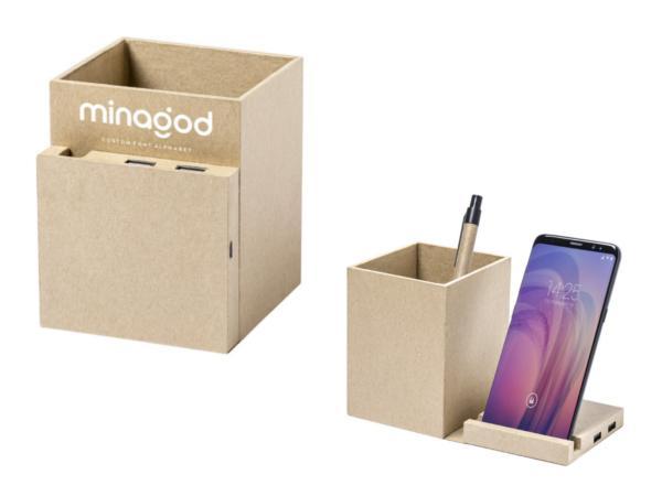 Pot à Crayons avec Support et Chargeur pour Smartphone en Carton - visuel 3