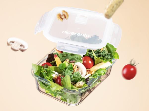 Lunch Box de 1 L en Verre avec un Couvercle Hermétique
