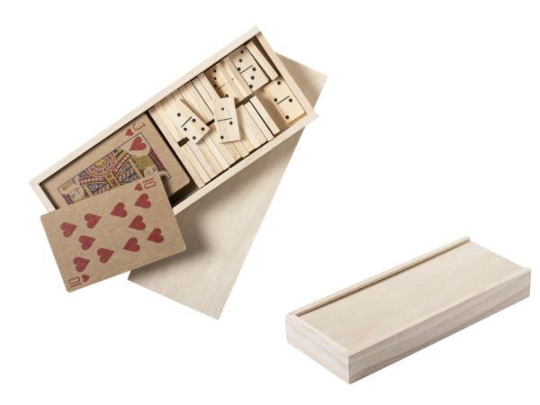 Set avec un Jeu de Cartes en Papier Recyclé et Dominos en Bois  - visuel 2