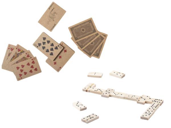 Set avec un Jeu de Cartes en Papier Recyclé et Dominos en Bois  - visuel 3