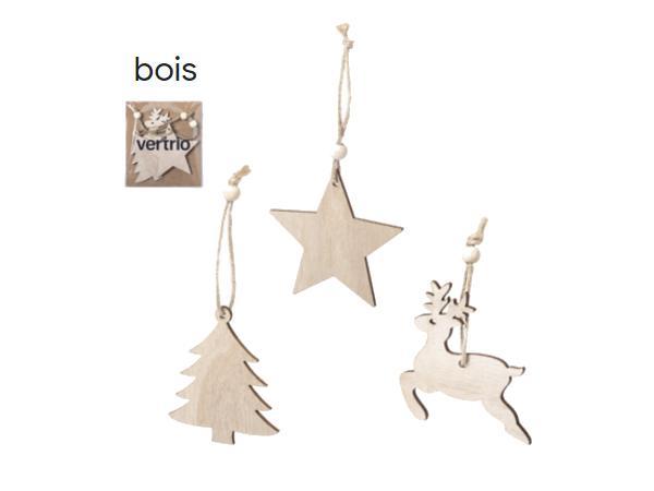 Set de 3 Figurines de Noël en Bois à Suspendre