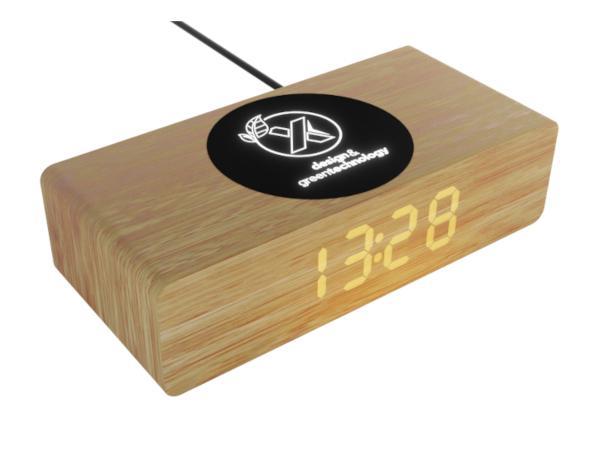Réveil en Bois de Bambou et Support de Chargement à Induction 10